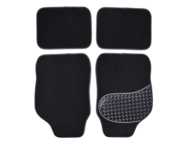 Autoteppich-Set Alu-Look-Pad 4-tlg. grau umrandet