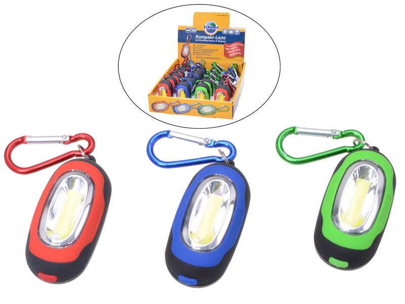 Kompakt-Licht im 24er-Display mit Karabinerhaken und Magnet