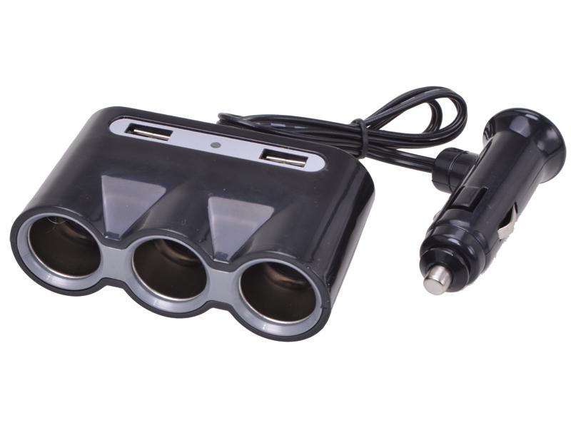 3-fach-Steckdose 12 V 2 x USB Steckplätze 5 V 3400mA