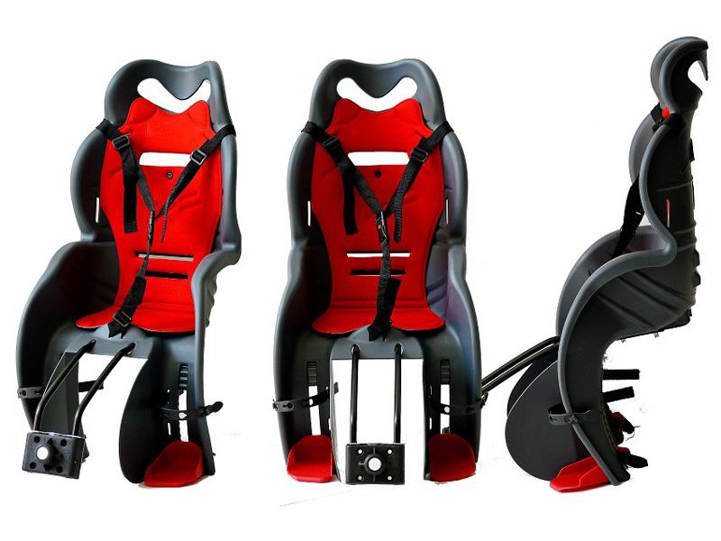Fahrrad-Kindersitz Calippo dunkelgrau/rot