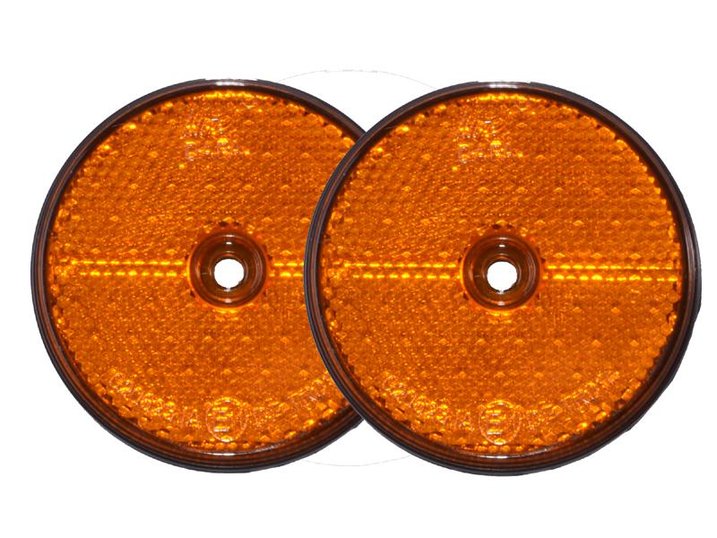 Reflektor rund orange 2er-Set zum Anschrauben