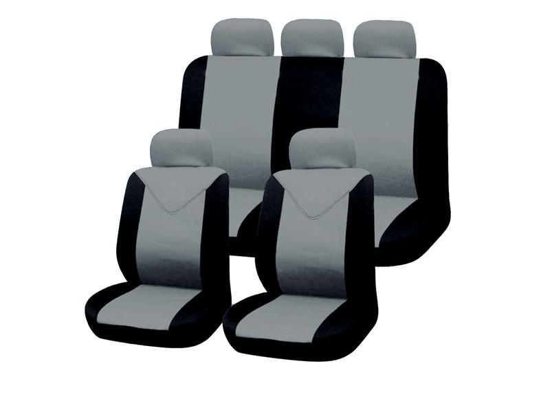Autositzbezug-Set 11tlg. hellgrau-schwarz