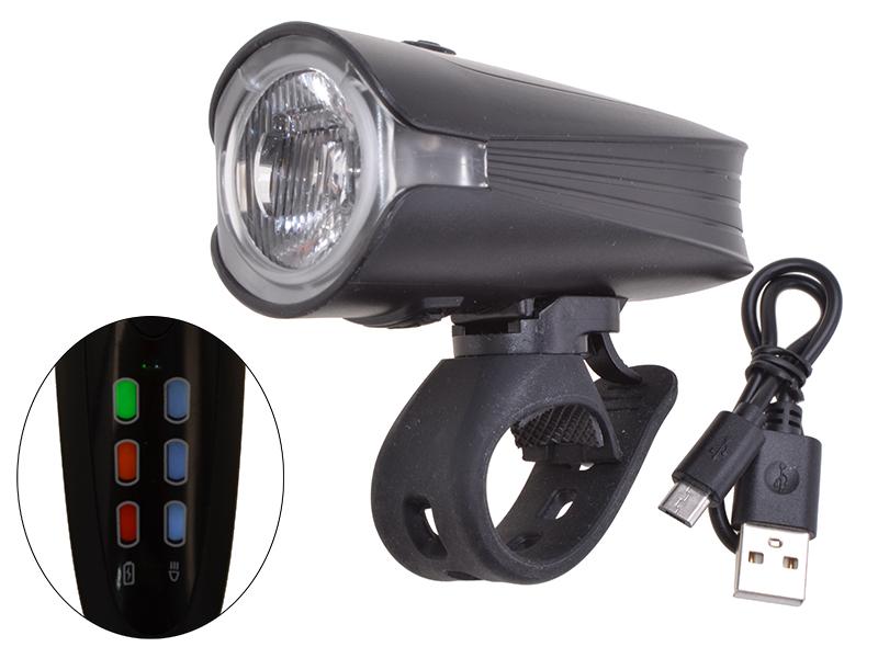 LED-Frontlicht Akku 60 LUX mit Helligkeitssensor