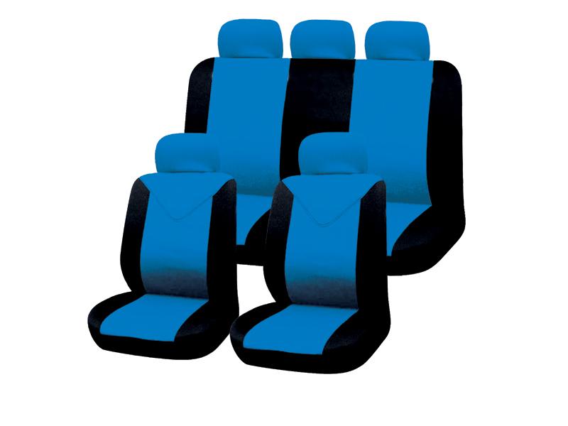 Autositzbezug-Set 11tlg. blau-schwarz