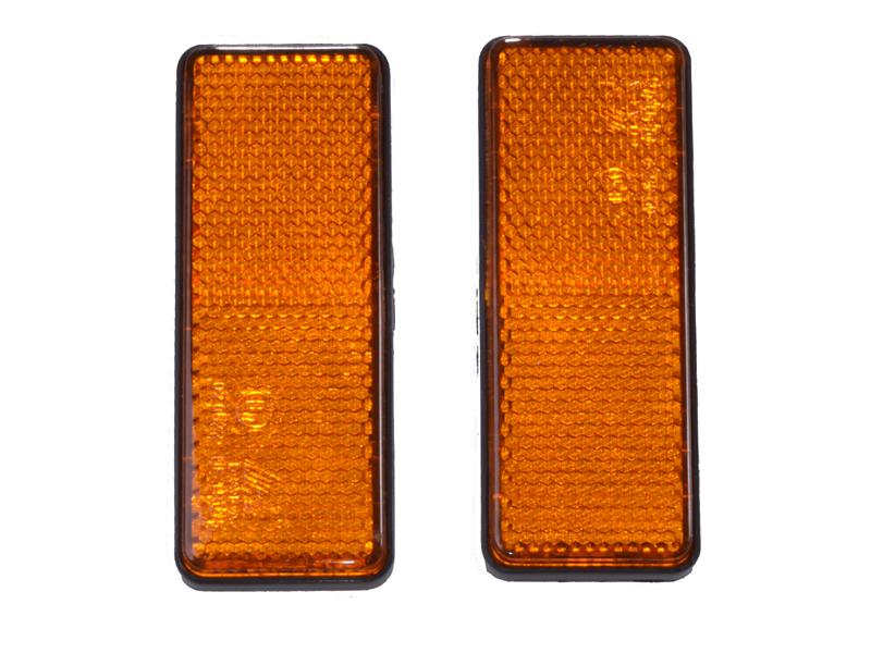 Reflektor eckig orange 2er-Set zum Ankleben