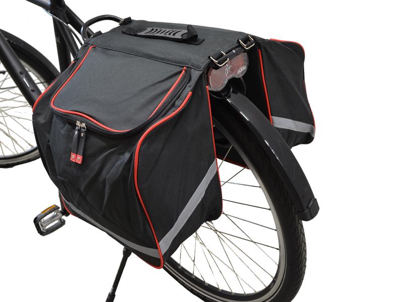 Fahrrad-Doppeltasche rot/schwarz mit Reflektorstreifen