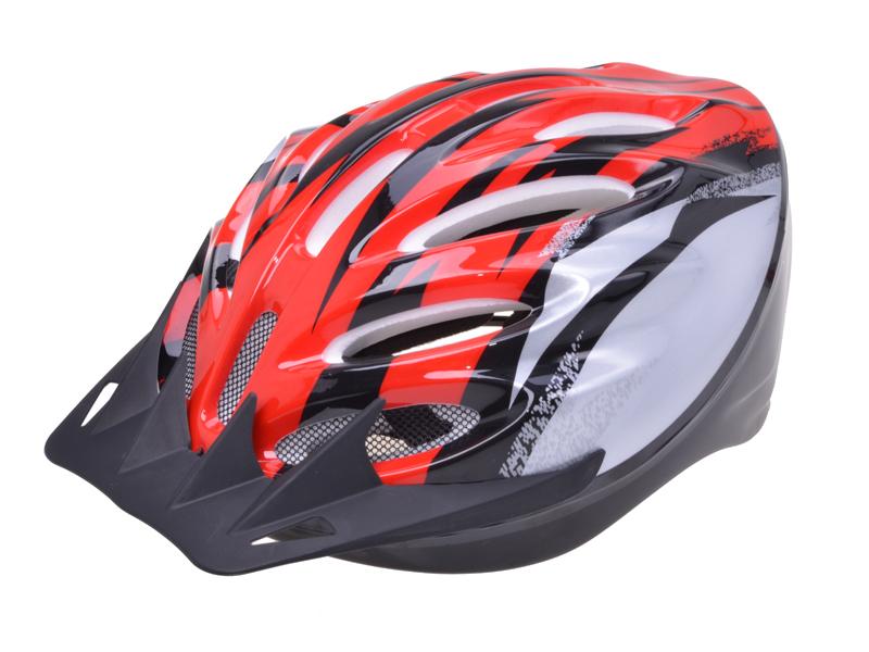Helm für Radfahrer rot-silber 55-59 cm Kopfumfang