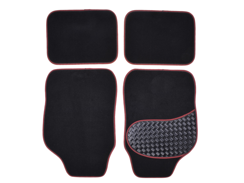 Autoteppich-Set Alu-Look-Pad 4-tlg. rot umrandet