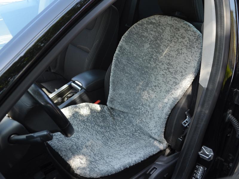 Kunstfell-Sitzauflage grau