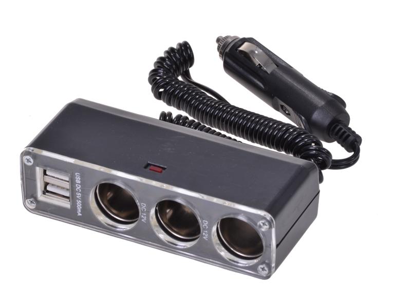 3-fach-Steckdose 12 V 2 x USB Steckplätze 5 V 500mA
