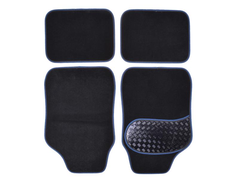 Autoteppich-Set Alu-Look-Pad 4-tlg. blau umrandet
