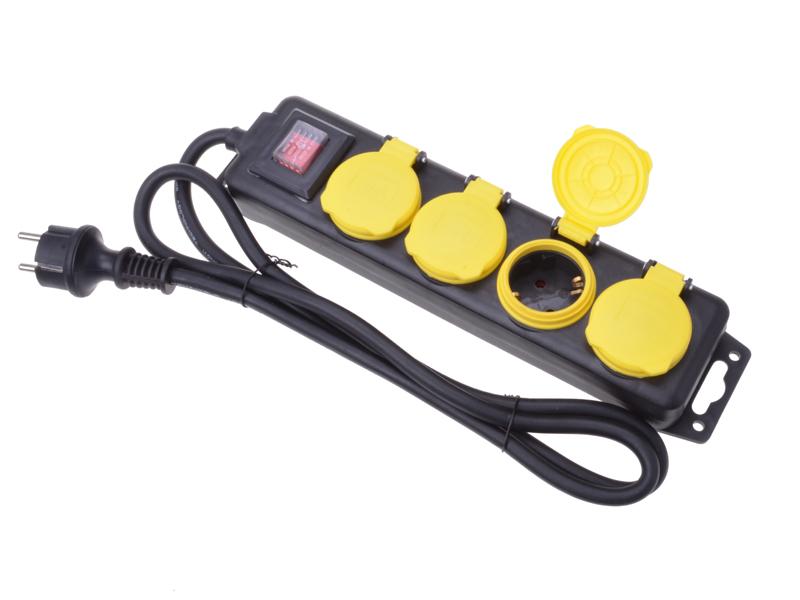 4er-Steckerleiste outdoor mit Schalter TÜV/GS
